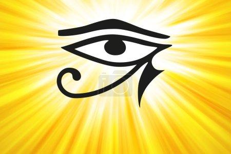 Eye of Horus and golden light rays