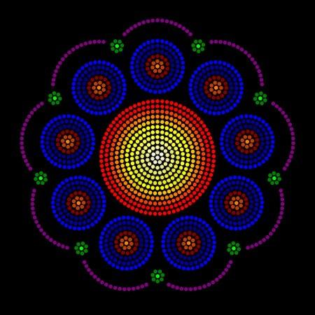 Leadlight and rosette window radial dot patterns