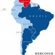MERCOSUR countries map with suspended member Venez...