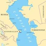 Caspian Sea region political map with most importa...