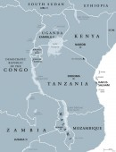 African Great Lakes gray map