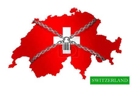 Photo pour Suisse Chaîne d'arrêt et cadenas verrouillés, avec drapeau suisse. Illustration 3D - image libre de droit