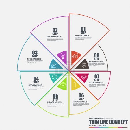 Thin line flat conceptual diagram infographic elements vector template. Can be used for workflow, data visualization, business concept with 8 options, steps or processes, banner, chart, web design.