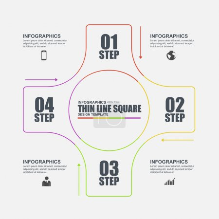 Thin line flat minimal infographic elements vector template. Can be used for workflow, business concept with 4 options, parts, steps or processes, number options, diagram, chart, data visualization.