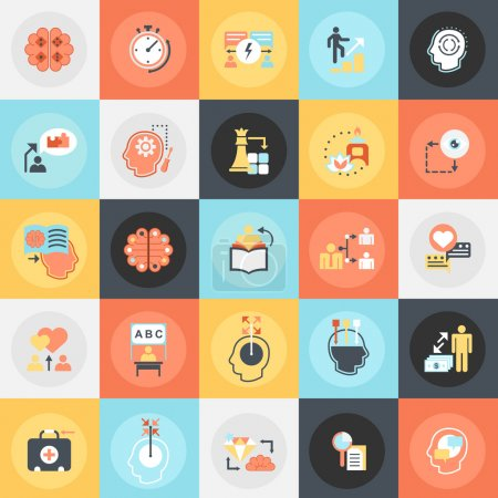 Flat conceptual icons pack of human mind process