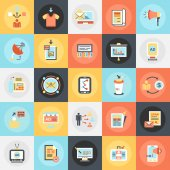 Flat conceptual icons pack of advertising