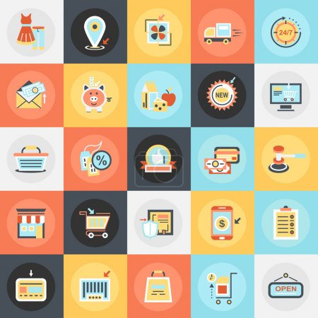 Flat conceptual icons pack of e-commerce