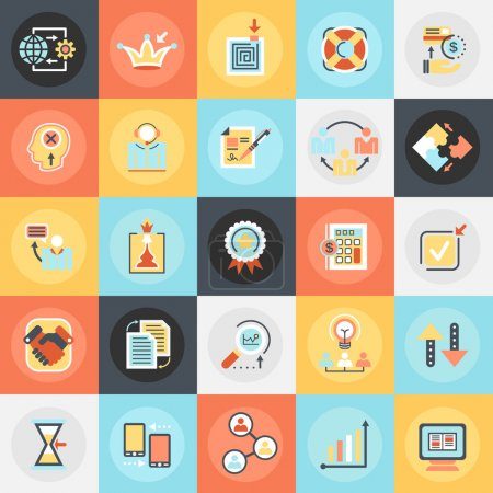 Flat conceptual icons pack of doing business elements