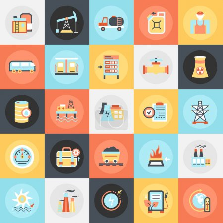 Flat conceptual icons pack of power plant