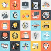 Flat conceptual icons set of creative process