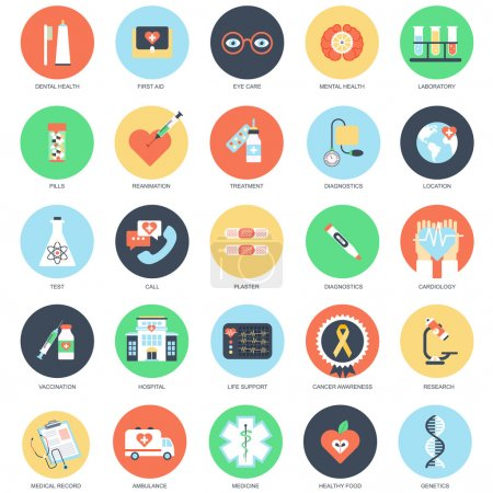 Flat conceptual icon set of healthcare and medicine