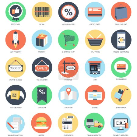 Flat conceptual icon set of e-commerce