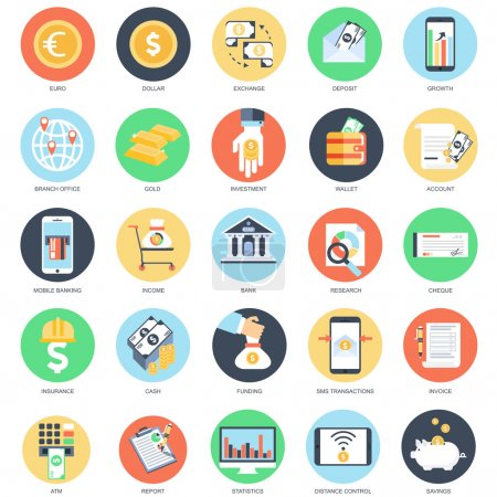 Flat conceptual icon set of banking and money