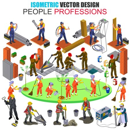 Flat 3d isometric professional builder construction workers people