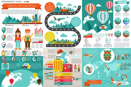 Illustration for Flat travel infographic elements vector design template. Can be used for data visualization, website travel companies, flat icon, travel banner, road timeline, marketing, set information infographics. - Royalty Free Image