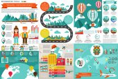Flat travel infographic elements vector design template Can be used for data visualization website travel companies flat icon travel banner road timeline marketing set information infographics