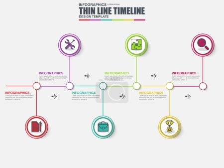 Thin line flat timeline infographic elements vector template