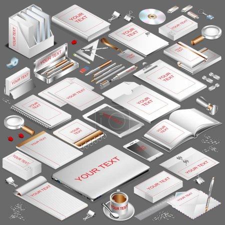 Corporate identity isometric stationery objects set