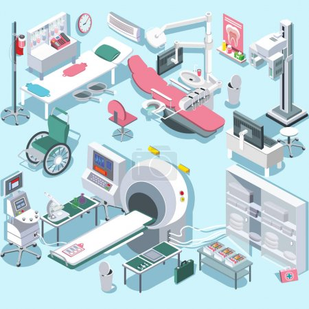 Modern medical surgery and examination rooms isometric equipment