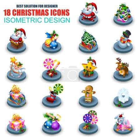 Set of isometric Christmas icons