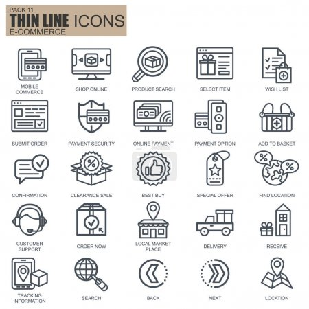 Illustration for Thin line web shopping and e-commerce icons set for website and mobile site and apps. Pixel Perfect. Editable Stroke. Pack simple linear icon. Vector illustration. - Royalty Free Image