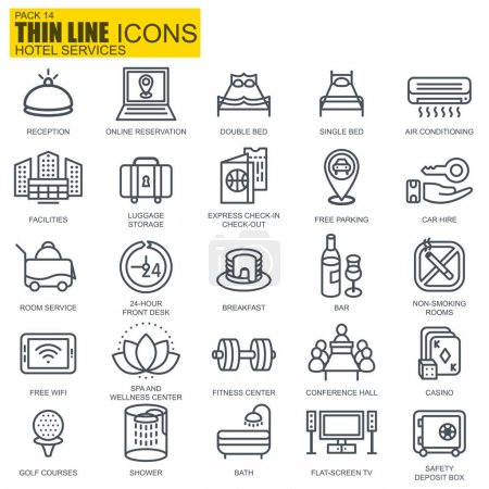 Thin line hotel services and facilities, online booking, travel information icons