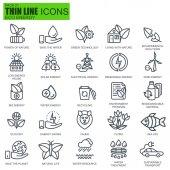 Tenká linie prostředí, obnovitelné zdroje energie, udržitelné technologie, příroda ikony