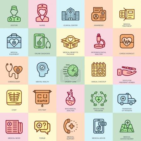 Illustration pour Soins de santé et de médecine de ligne mince, les icônes des services hospitaliers fixés pour le site Web et le site mobile et les applications. Pixel Parfait. Un AVC modifiable. Paquet de pictogramme linéaire simple et plat. Illustration vectorielle . - image libre de droit
