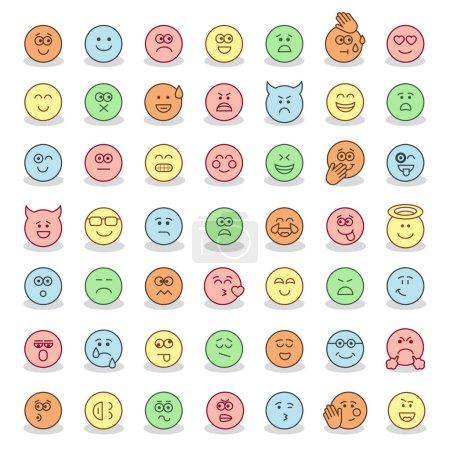 Set of flat emoticons. Emoji.