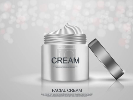 template with hydrating facial cream