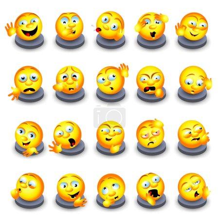 Set of yellow flat emoticons