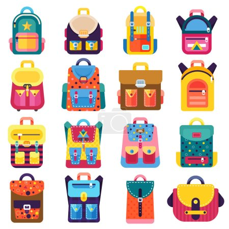 Illustration for Pupils Colorful Backpacks Set.  Education and study, school backpack icons. - Royalty Free Image