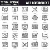Thin line web design and development icons
