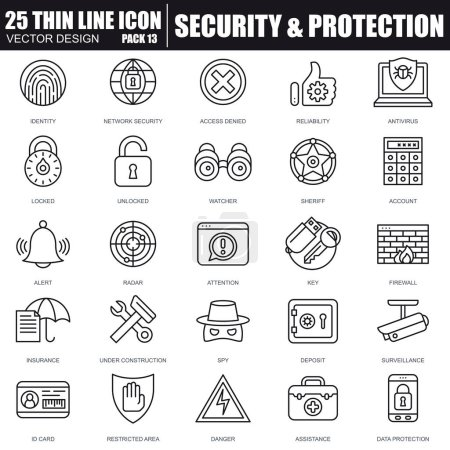 Thin line security and protection icons set