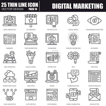 Illustration pour Fine ligne set d'icônes pour site Web et site mobile et applications de marketing numérique. Pixel Perfect. Modifiables en course. Pack de pictogramme linéaire simple. Illustration vectorielle. - image libre de droit
