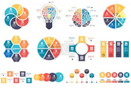 Illustration for Infographic elements data visualization vector design template. Business concept with 4, 5, 6 and 8 options, steps or processes, workflow layout, diagram, timeline, marketing icons, info graphics. - Royalty Free Image