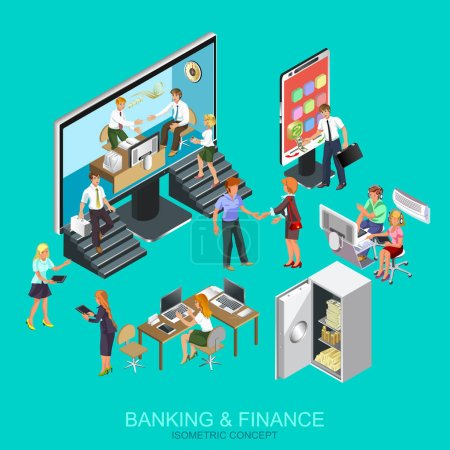 Flat design banner of banking and finance