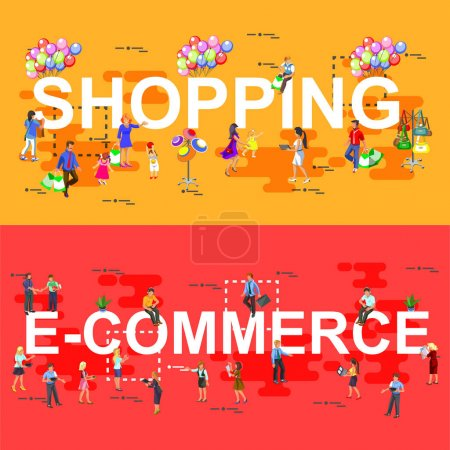 Flat set of e-commerce and shopping