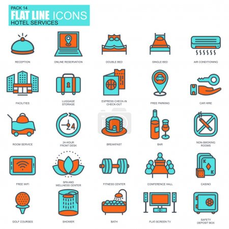 hotel services and facilities icons set