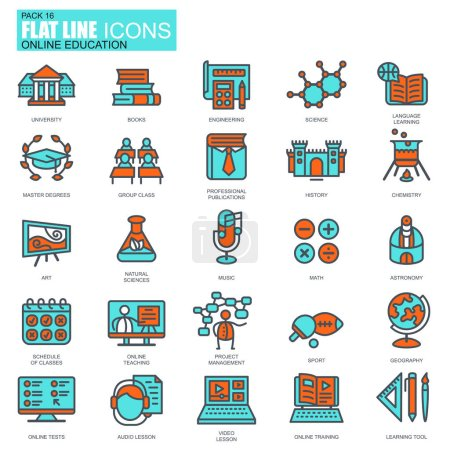 Thin line education icons set,