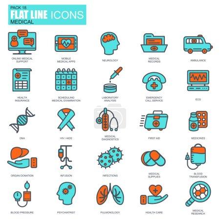 Flat design of healthcare services icons