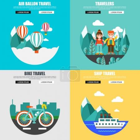 Illustration for Travel banners set, vector illustration - Royalty Free Image
