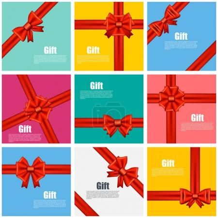 Illustration for Set flat gift cards vector illustration on color background, luxury wide gift bow with red ribbon and space frame for text, gift wrapping template for banner, poster design. Simple cartoon style. - Royalty Free Image