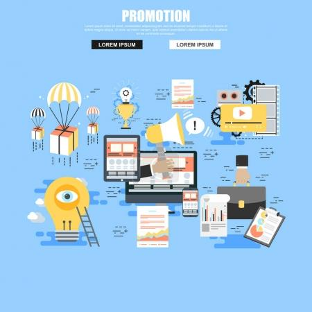 Flat concept set of social promotion