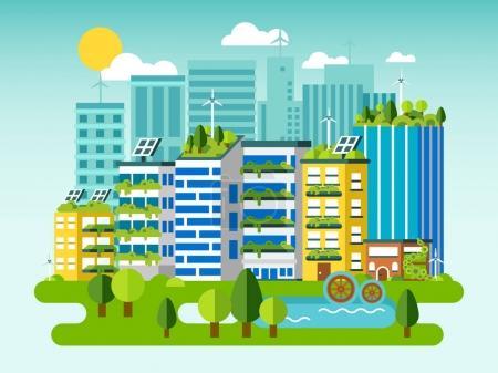 Flat concept green city skyline.