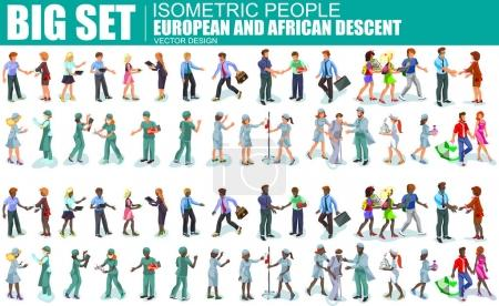 isometric people european and african descent