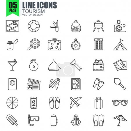 tourism and travel icons set