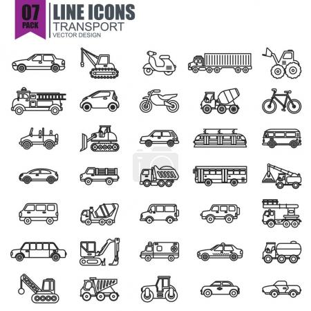 various transport icons set