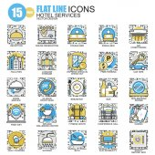 Hotel services flat line icons