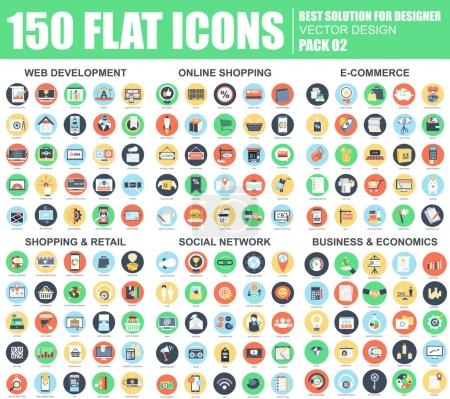Illustration for Flat web development, online shopping, e-commerce, retail, social network, business and economics icons set for website and mobile site and apps. Simple pictogram pack. Vector illustration. - Royalty Free Image